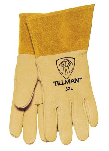 Heavy Weight Top Grain Brown Pigskin Premium Grade MIG Welders Glove With Para-aramid synthetic fiber® Stitching, Straight Thumb And 4'' Cuff
