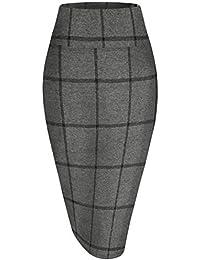 Womens Premium Nylon Ponte Stretch Office Pencil Skirt...