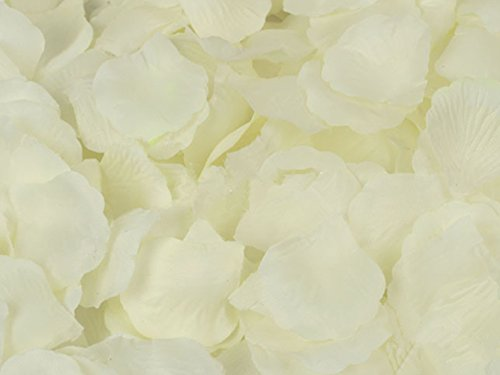 123zero Artificial Silk Rose Flower Petals (2000 Pcs) for Party and Wedding Bridal Decoration (Ivory)