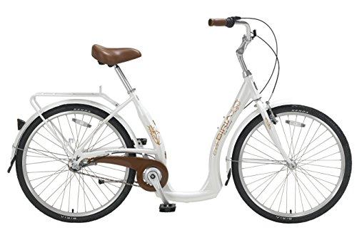 Through Hub - Biria Step Through 3-speed Shimano Nexus internal Hub, Aluminum, Light Beige, 15.5 Inch frame size Cruiser comfort German design Bicycle