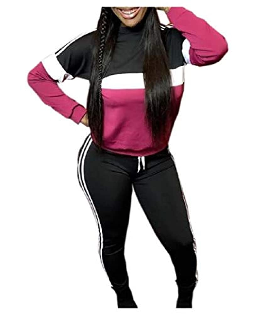 雪だるまを作る熟す床を掃除するAngelSpace Women's Splice Casual Workout 2 Pieces Tracksuits Outfit