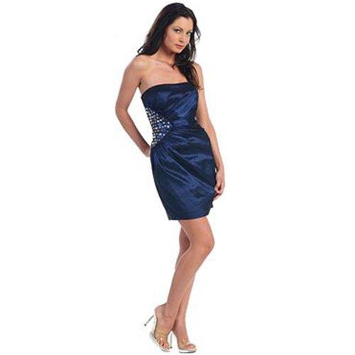 Amazon.com: Navy Blue Stretch Taffeta Strapless Cocktail Dress ...