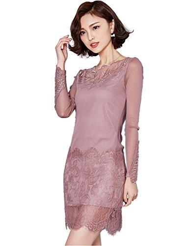 Solid Color Wavy Edge Long Sleeved Inwrought Grenadine Lace Dress