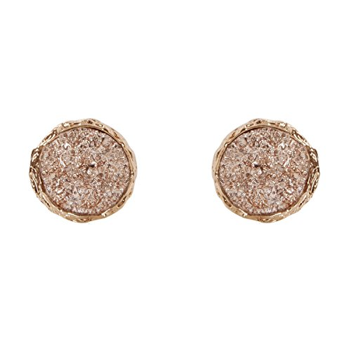 453a12be7 Humble Chic Simulated Druzy Studs - 16mm Gold-Tone Plated Round Circle  Simple Minimalist Small