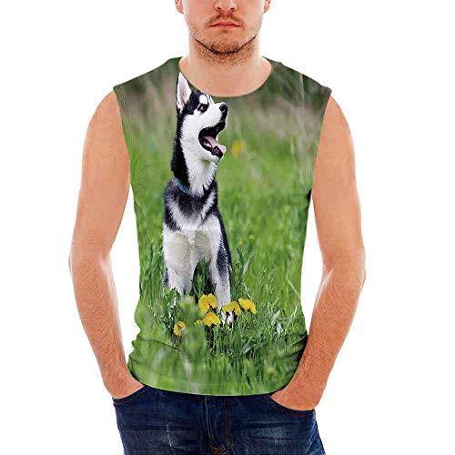 - Mens Sleeveless Alaskan Malamute T- Shirt,Little Puppy Playing on Green Grass Sp