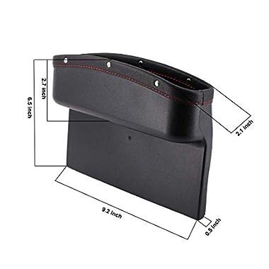 Lukzer 1 PC Leather PU Car Console Side Storage Organizer Seat Gap Filler Pockets Catch Caddy (Black) 7