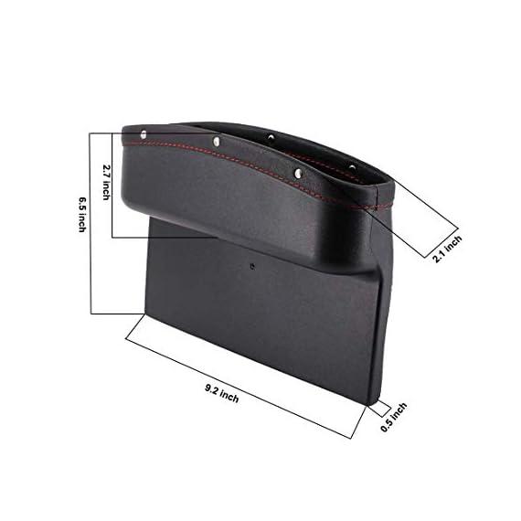 Lukzer 1 PC Leather PU Car Console Side Storage Organizer Seat Gap Filler Pockets Catch Caddy (Black) 2