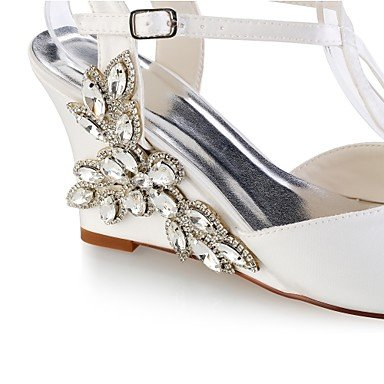 Best for ivory Wedding Summer Shoes Wedding Evening 4U Stretch Wedge Peep Pump Basic Shoes Heel Ivory Party Women's Satin Crystal Toe ZgRqx8wZr