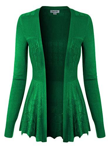 - Design by Olivia Women's Long Sleeve Crochet Knit Draped Open Sweater Cardigan Kelly Green L