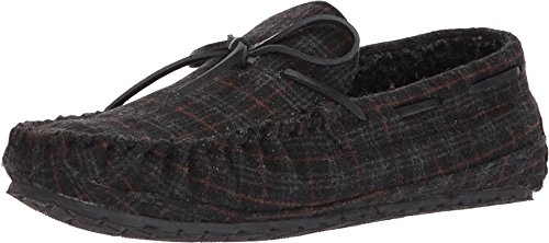 Minnetonka Mens Plaid Casey Moccasin Slipper Charcoal Size 13 ()