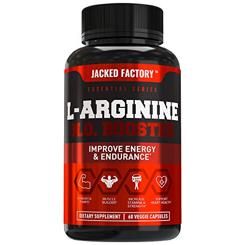 (L Arginine 1500mg Patented Nitrosigine - Extra Strength Nitric Oxide (NO) Booster Pre Workout Supplement for Muscle Growth, Pumps, Vascularity, Energy - 60 Veggie Pills )