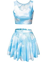 Womens Printed Crop Top Pleated Skater Rave Skirt 2 Piece Set