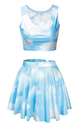 Women Light Blue Sky Clouds Printing 2 Piece Digital Crop Tank Tops Rave Skirt]()