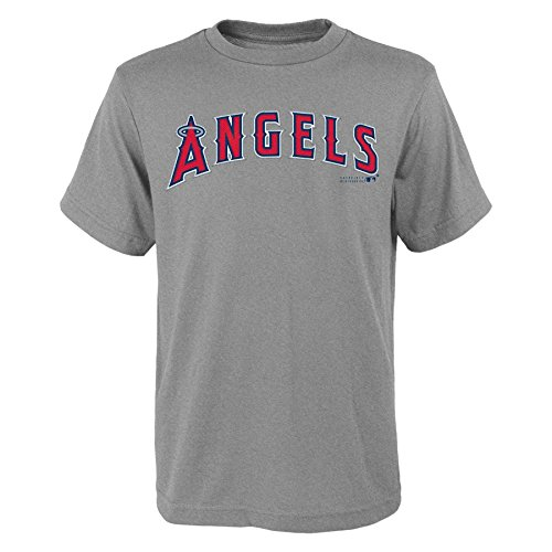 (MLB Los Angles Angels Youth Boys 8-20 Wordmark Tee-XL (18), Heather Grey)