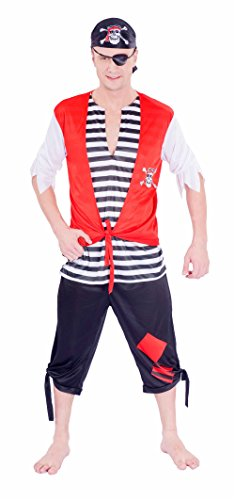 JUNPAI Men's Pirate Costume Set Including Hat,Eyepatch,Shirt, (Homemade Pirate Costumes Ideas)