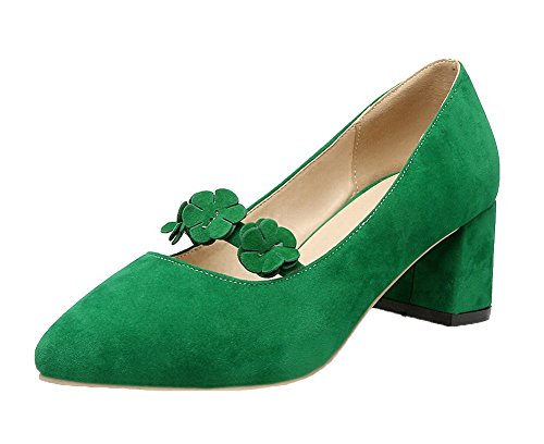 VogueZone009 Women's Pointed Toe Kitten-Heels Frosted Solid Pull-on Pumps-Shoes Green sml3P9sv