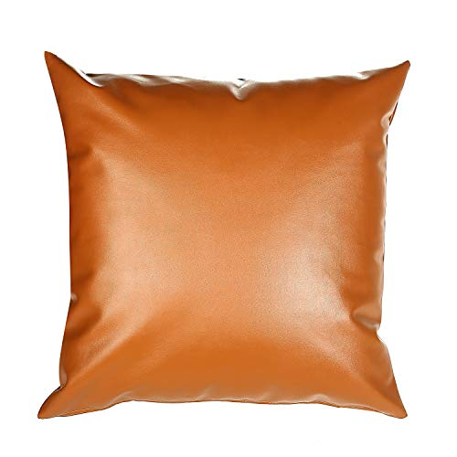 Snugtown Decorative Faux Leather Brown Throw Pillow Cover 18x18 Inch, Tan Pillow Case for Couch, Sofa, Bed
