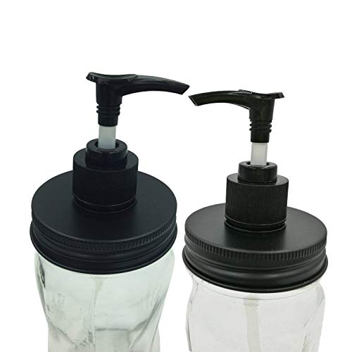 THINKCHANCES Rust Resistant and Leakage Proof Matt Black Hand Soap Dispenser Pump Lids Kit for Mason, Ball, Canning Jars (2 Pack, Regular Mouth)