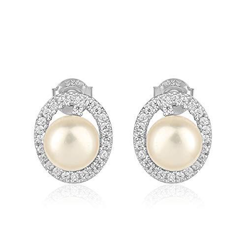 Amazon.com  925 Sterling Silver Pearl Stud Jewelry for Wedding Earrings   Handmade 379ac5d10f5b