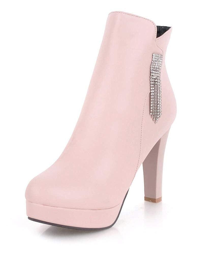 Easemax Damen Damen Damen Strass Runde High Heels Ankel Stiefel Kurzschaft Stiefel 20ef22