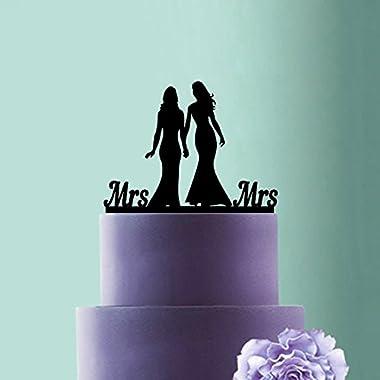 Lesbian Cake Topper,Wedding Lesbian,Mrs and Mrs Cake Topper,Lesbian Wedding Silhouette Bridles Cake Topper,Lesbian Cake Decoration,Same Sex.