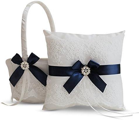 B07FFGQ17W Alex Emotions Ivory Ring Bearer Pillow and Basket Set   Lace Collection   Flower Girl & Welcome Basket for Guest   Handmade Wedding Baskets & Pillows (Navy Blue) 41g3sROkDHL