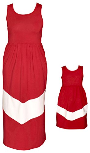Unique Baby Mommy and Me Matching Chevron Dress (Kids 4-5t) Maroone and White ()