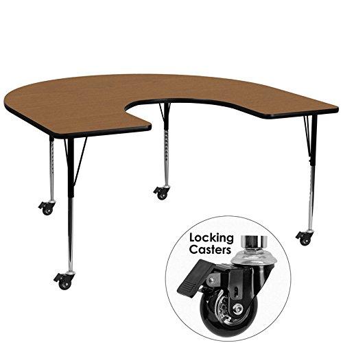 Flash Furniture Mobile 60''W x 66''L Horseshoe Oak Thermal Laminate Activity Table - Standard Height Adjustable Legs