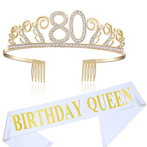 BABEYOND 80th Birthday Tiara and Sash Crystal Happy Birthday Crown and Satin Birthday Queen Sash 80th Birthday Party Supplies Rhinestone 80th Princess Crown and Glitter Sash (Set-1)]()