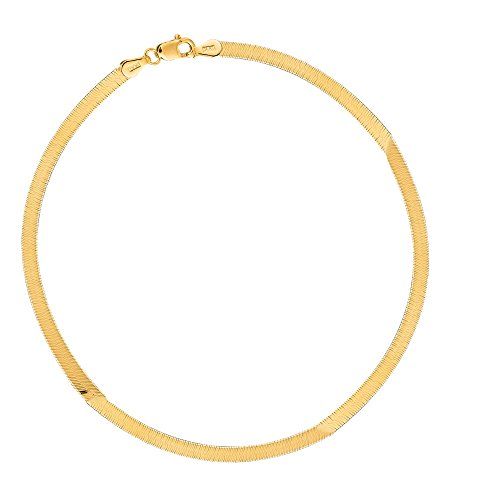14k Yellow Gold Sparkle Herringbone Chain Bracelet 7 Inches