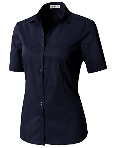 CLOVERY Women's Basic Short Sleeve Formal Work Wear Simple Shirt with Stretch Navy S