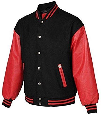 Original Windhound College Jacke schwarz mit roten Echtleder Ärmel M