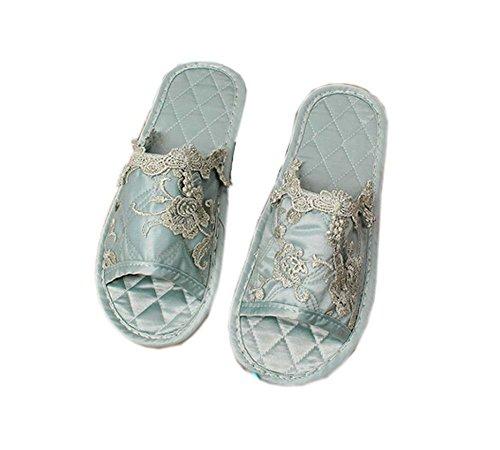 Broderie bleu vert brodé semi-couvert de la mode à domicile pantoufles