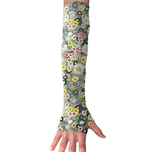 HBSUN FL Unisex Mixture Of Daisies And Pansies Anti-UV Cuff Sunscreen Glove Outdoor Sport Riding Bicycles Half Refers Arm Sleeves by HBSUN FL
