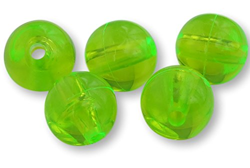 River Guide Supply Round Acrylic Plastic Beads 100 Pack - Made in USA (Neon Green, 10mm)
