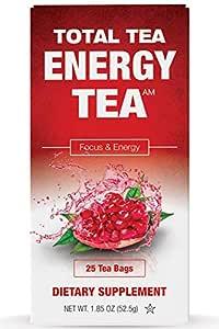 Total Tea Detox Guayusa Energy Tea - All Natural Herbal Caffeinated Tea Cleanse - Increase Energy & Focus - Coffee Substitute - 25 Tea Bags for Men and Women