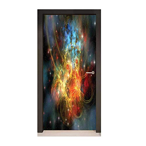 Homesonne Outer Space Door Wallpaper Princess Nebula Gas Expanse Outer Space Universe Matters in Astral Zone Decorative Door Sticker Navy Orange Teal,W23xH70