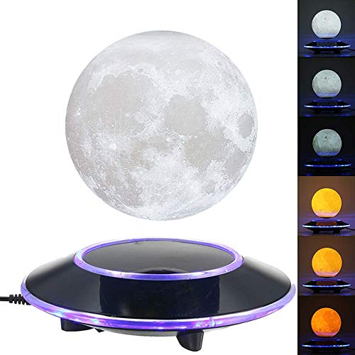 VGAzer Magnetic Levitating Moon Lamp Night Light Floating and Spinning in Air Freely with Gradually Changing LED Lights Between Yellow and White for Home,Office Decor,Unique Holiday Gifts,Night ()
