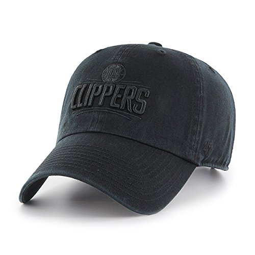 '47 Los Angeles Clippers Hat NBA Authentic Brand Clean Up Adjustable Strapback Black Basketball Cap Adult One Size Men & Women 100% Cotton