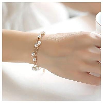 Wedding Charm Rose Gold Stackable Imitation Pearl Strand Anklet Link Chain Bracelet Bangle for Bridal