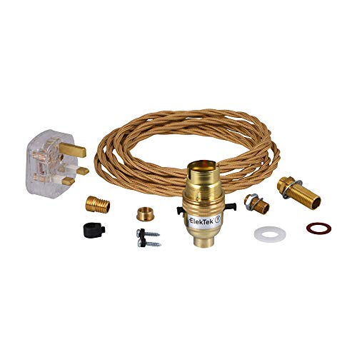 Premium Lamp Kit Brass Safety Switch B22 Lamp Holder with Twisted Gold Flex and 3A UK Plug