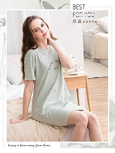 De Lindo Manga Servicio Baujuxing Cuello Primavera Camisón Pijamas Pijama Algodón Redondo Verano M Domicilio A Punto Mujer 100 Corta 7ASw7pq