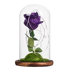 OSALADI Romantic Artificial Decoration Flowers Glass Cover Fresh Preserved Rose DIY Wedding Decor for Home Birthday Gift(Dark Purple) 86