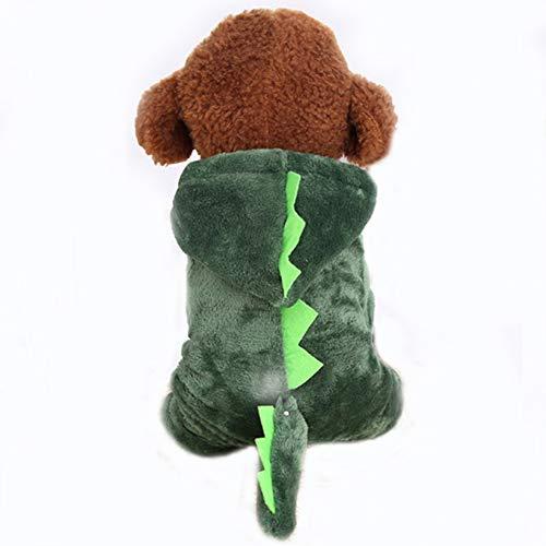 (Adarl Winter Warm Pet Dress Up Costumes Dog Jumpsuit Coat Colothes Soft Fleece Hoodies Dinosaur Apparel for Puppy Dog Cat)