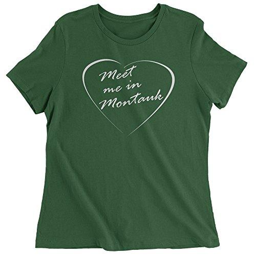 Womens Meet Me in Montauk Eternal Sunshine Words of Love T-Shirt Large Forest Green (Eternal Sunshine Of The Spotless Mind Wallpaper Desktop)