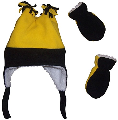 N'Ice Caps Boys Sherpa Lined Micro Fleece Four Corner Ski Hat and Mitten Set (6-18mo, Infant - black/yellow)