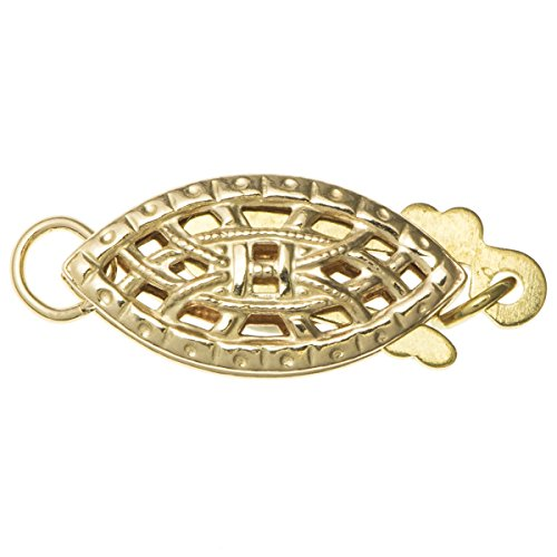 Dreambell 14k Gold Filled Classic Flower Filigree Almond Oval Nut Pearl Box Hook Clasp 15mm Connector Switch Bead