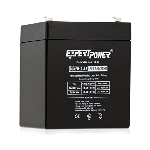 Black Replacement Battery Door - ExpertPower EXP1245  Home Alarm Security Battery Replacement  Black  12V 4.5AH  Absorbent Glass Mat  1 pack