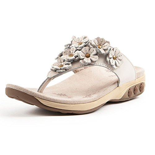 Therafit Shoe Women's Flora Leather Walking Sandal 7 White by Therafit