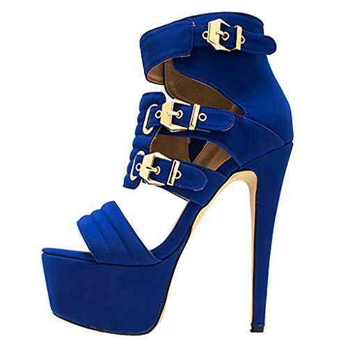 EKS - sandalias Mujer Azul - Blau-Wildleder